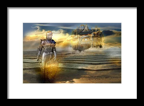 Guardian Knight Palace Court Surrealism Sky Clouds Shield Magic Aerial Castle Fairytales Fantastic Framed Print featuring the photograph The guardian of the celestial palace by Desislava Draganova