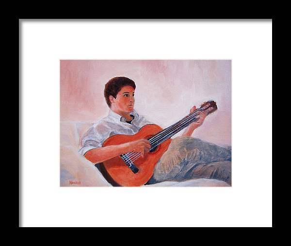 Konkol Framed Print featuring the painting The Guitarist by Lisa Konkol