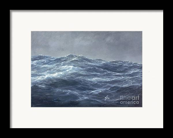 Rolling Waves; Wave; Seascape; Turbulent; Stormy; Ominous; Rough Sea; Ocean; Gull; Flying; Storm; Choppy; Darkening Skies; Water Framed Print featuring the painting The Gull's Way by Richard Willis