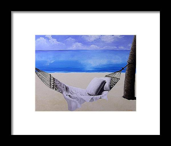 Seascape Framed Print featuring the painting The Hammock by Trisha Lambi