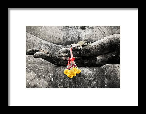 Buddha Framed Print featuring the photograph The Hand Of Buddha by Adrian Evans