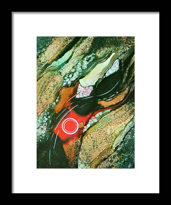 Abstract Framed Print featuring the painting The Hard Place - C by Sandy Sandy