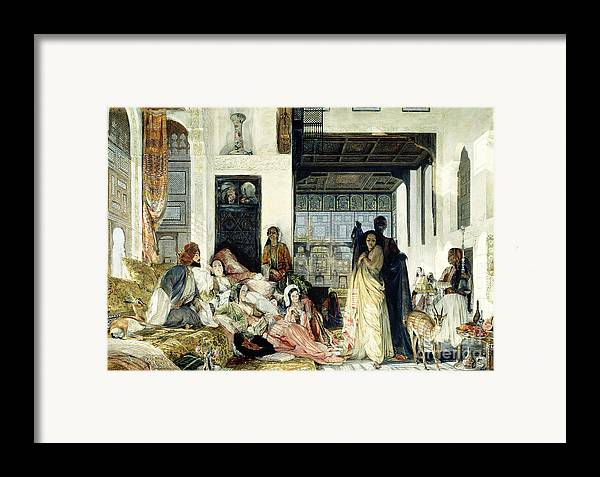 The Framed Print featuring the painting The Harem by John Frederick Lewis
