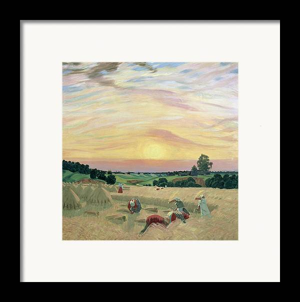 The Harvest Framed Print featuring the painting The Harvest by Boris Mikhailovich Kustodiev