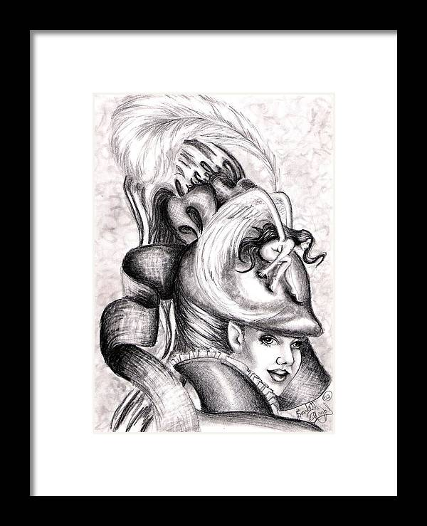 Fantasy Framed Print featuring the drawing The Hat by Scarlett Royal