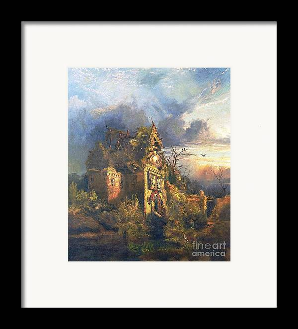 The Haunted House Framed Print featuring the painting The Haunted House by Thomas Moran