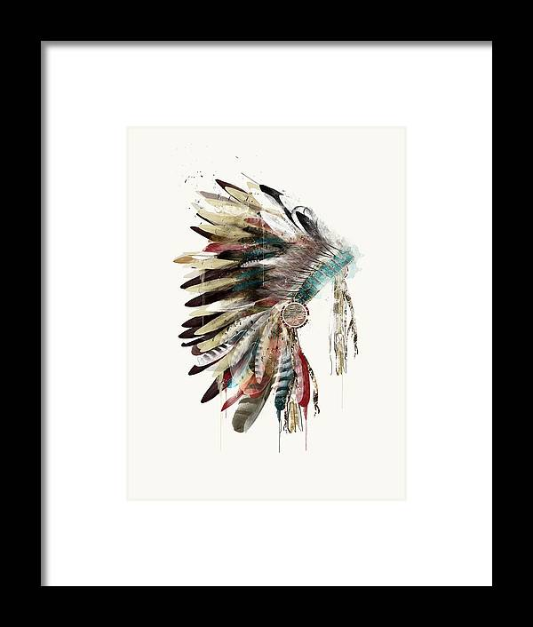 Headdress Framed Print featuring the painting The Headdress by Bri Buckley