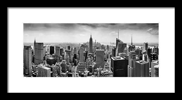 Panorama Photo Framed Print featuring the photograph New York City Skyline BW by Az Jackson