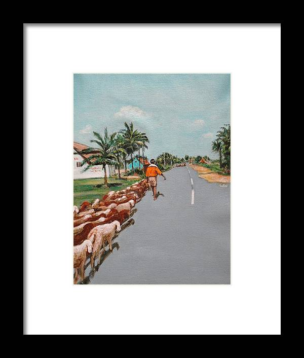 Framed Print featuring the painting The Herd 1 by Usha Shantharam