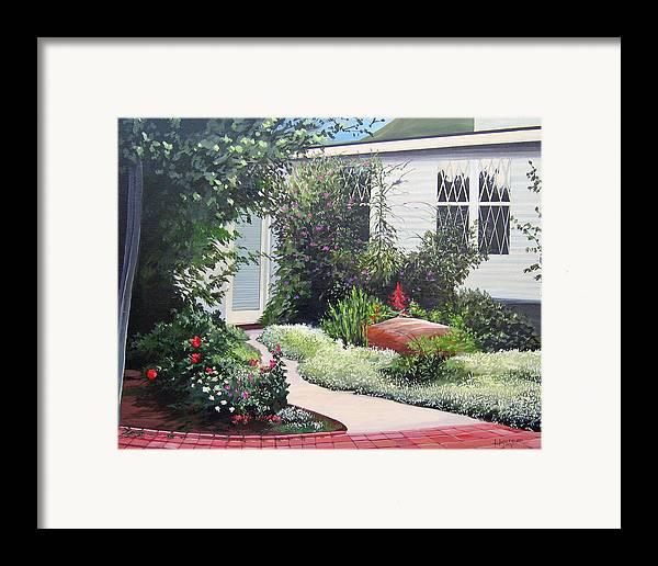 Garden Path Framed Print featuring the painting The Hidden Garden by Hunter Jay