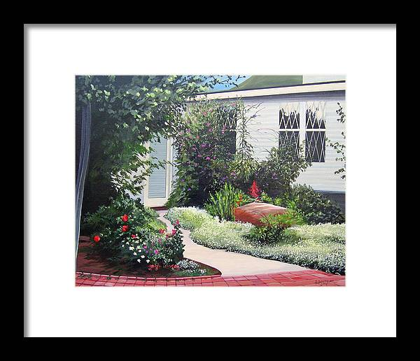 Garden Path Framed Print featuring the painting The Hidden Garden by Hunter Jay