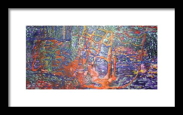 Abstract Framed Print featuring the painting The Hidden Playground by Heather Hennick