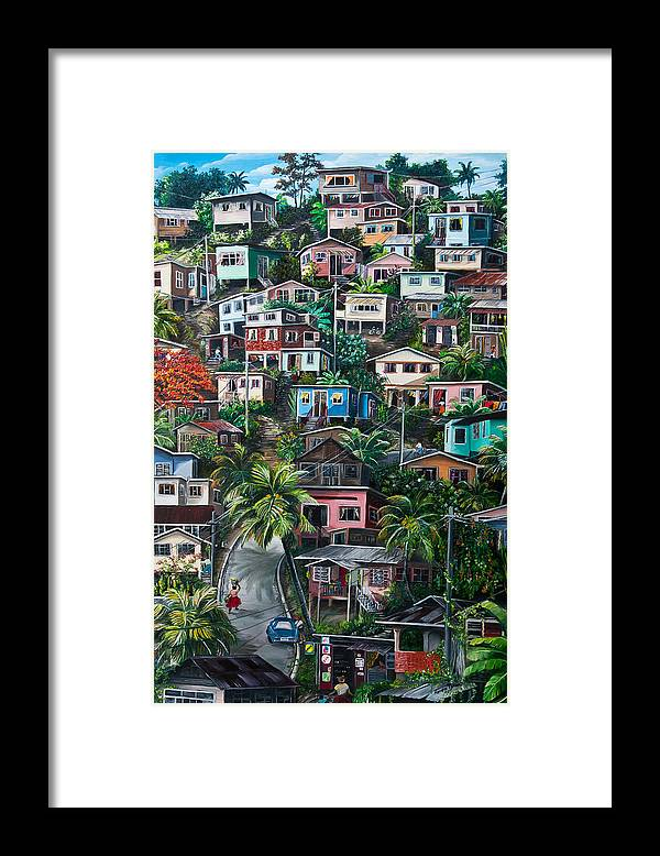 Landscape Painting Cityscape Painting Houses Painting Hill Painting Lavantille Port Of Spain Painting Trinidad And Tobago Painting Caribbean Painting Tropical Painting Caribbean Painting Original Painting Greeting Card Painting Framed Print featuring the painting The Hill   Trinidad by Karin Dawn Kelshall- Best