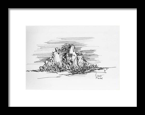 Hill Framed Print featuring the drawing The Hill by Padamvir Singh