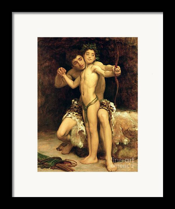 The Framed Print featuring the painting The Hit by Frederic Leighton