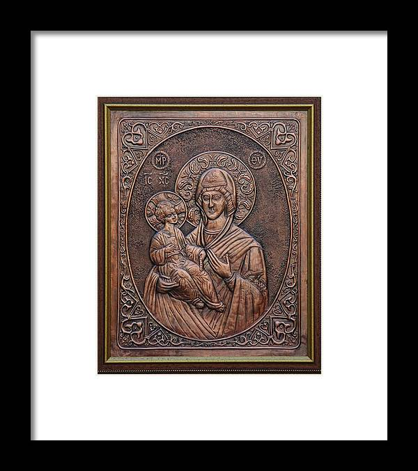 Icons Framed Print featuring the relief The Holly Mother With Jesus Christ by Netka Dimoska