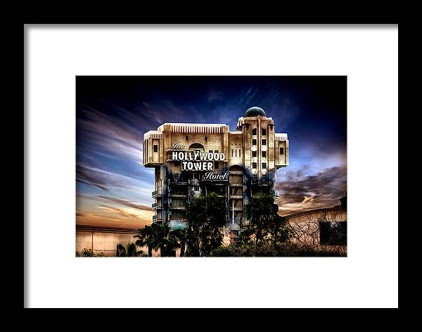 Hollywood Tower Hotel Disneyland Framed Print featuring the mixed media The Hollywood Tower Hotel Disneyland Pa 02 by Thomas Woolworth