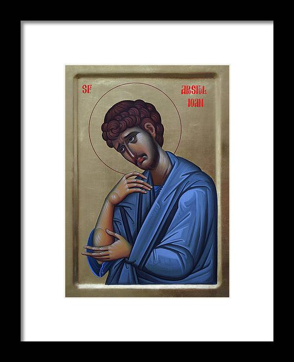 John Framed Print featuring the painting The Holy Apostle And Evangelist John The Theologian by Lembrau Iulian