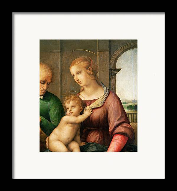 The Framed Print featuring the painting The Holy Family by Raphael