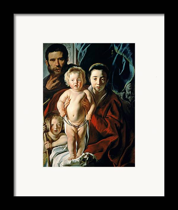 The Framed Print featuring the painting The Holy Family With St. John The Baptist by Jacob Jordaens