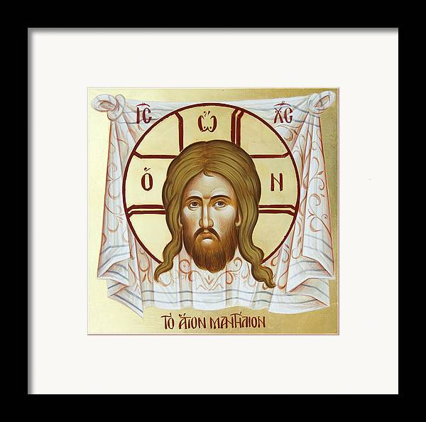 Holy Napkin Framed Print featuring the painting The Holy Napkin by Julia Bridget Hayes