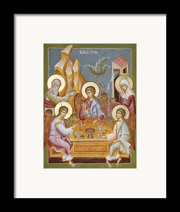 Holy Trinity Icon Framed Print featuring the painting The Holy Trinity by Julia Bridget Hayes