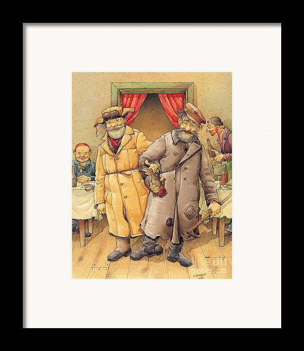 Russian Vodka Figures Pub Framed Print featuring the painting The Honest Thief 01 Illustration For Book By Dostoevsky by Kestutis Kasparavicius