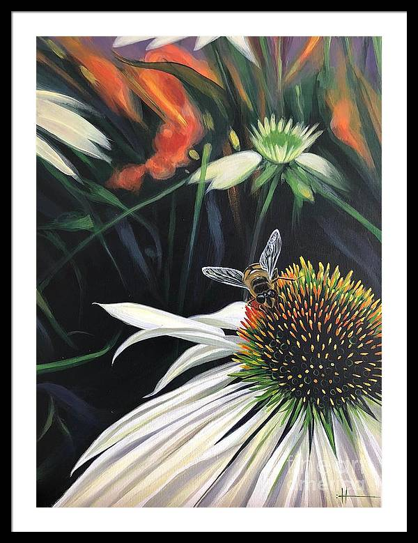 Daisy Framed Print featuring the painting The Honeythief by Hunter Jay
