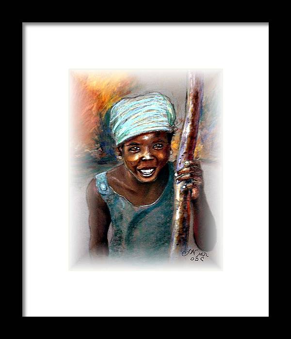 Children Framed Print featuring the pastel The Hope Of Africa by Tommy Winn