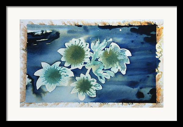 Blue Flowers Ink Dreamy Dream Blossom Framed Print featuring the painting The Hopes And Dreams Of A Blossom On A Lake by Amy Bernays
