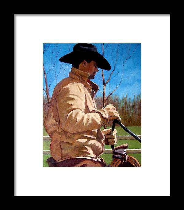 Horse Framed Print featuring the pastel The Horse Trainer No. 2 by Joyce Geleynse