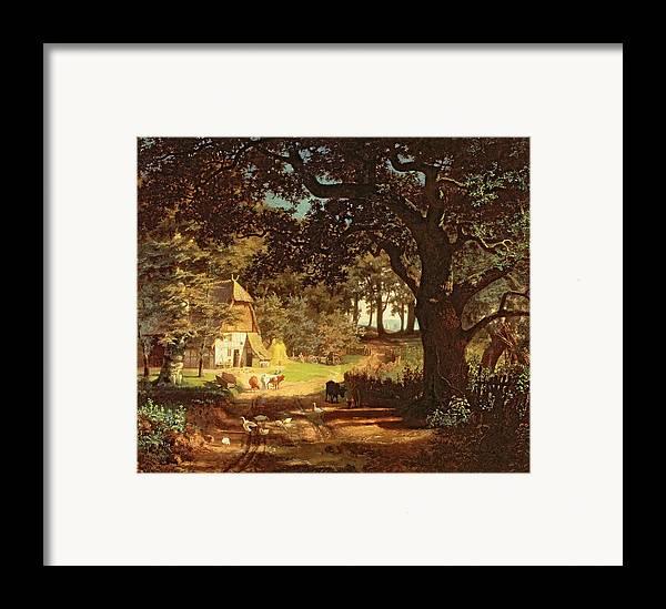 Albert Bierstadt Framed Print featuring the painting The House In The Woods by Albert Bierstadt