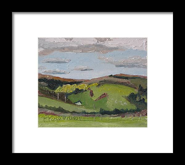 Landscape Framed Print featuring the painting The House On The Hill by Francois Fournier