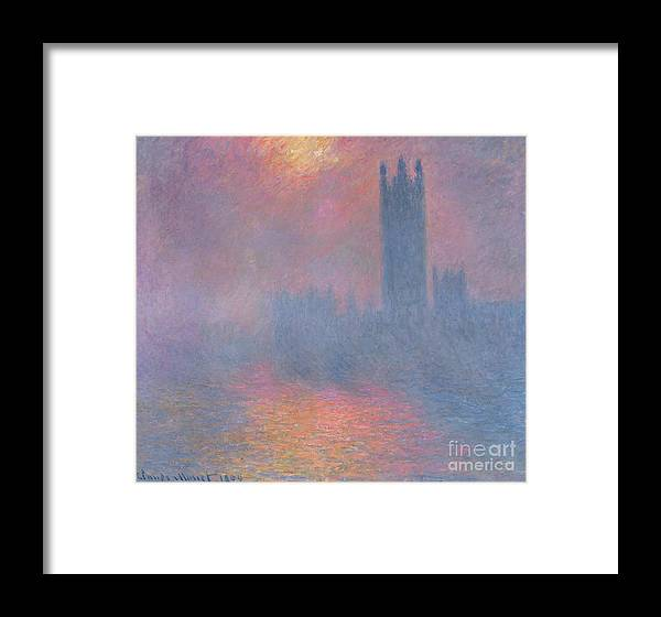 The Framed Print featuring the painting The Houses Of Parliament London by Claude Monet