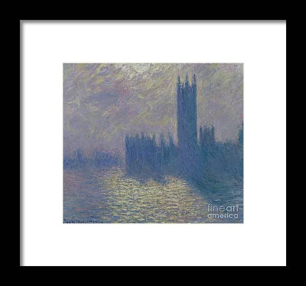 The Framed Print featuring the painting The Houses Of Parliament Stormy Sky by Claude Monet