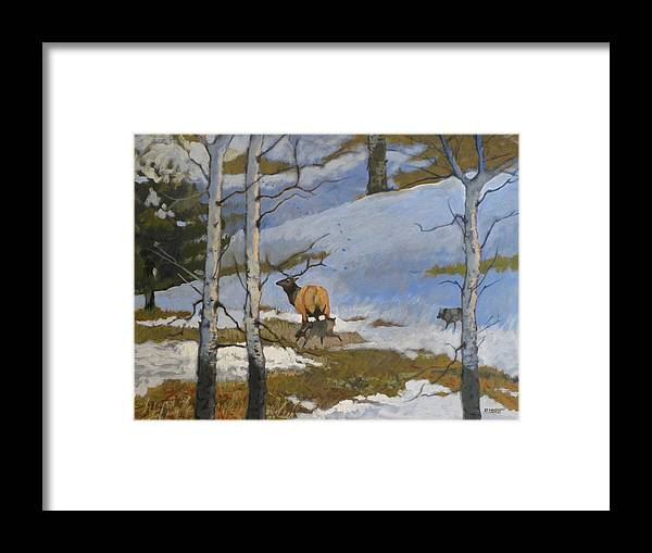 Elk Framed Print featuring the painting The Hunt by Robert Bissett