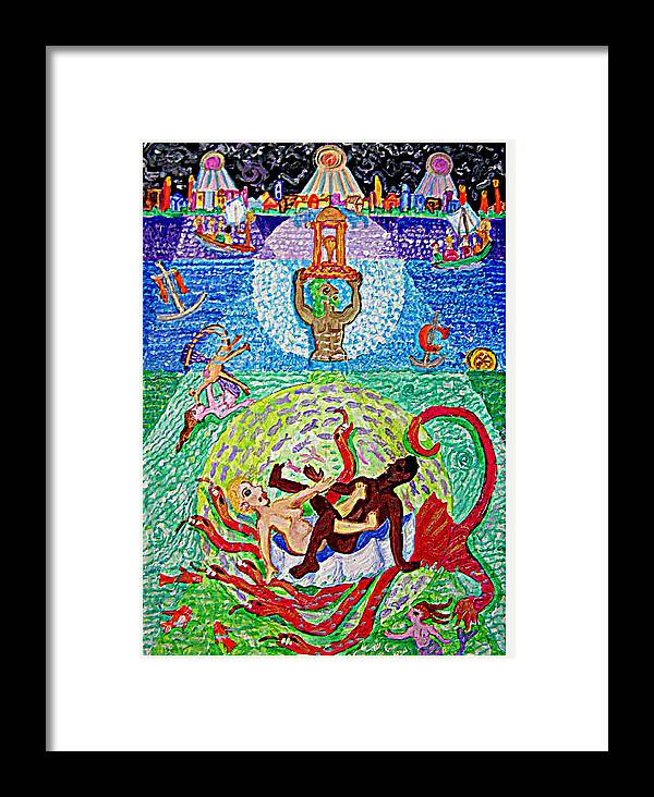 Erotic Framed Print featuring the painting The Hydra by Maria Alquilar