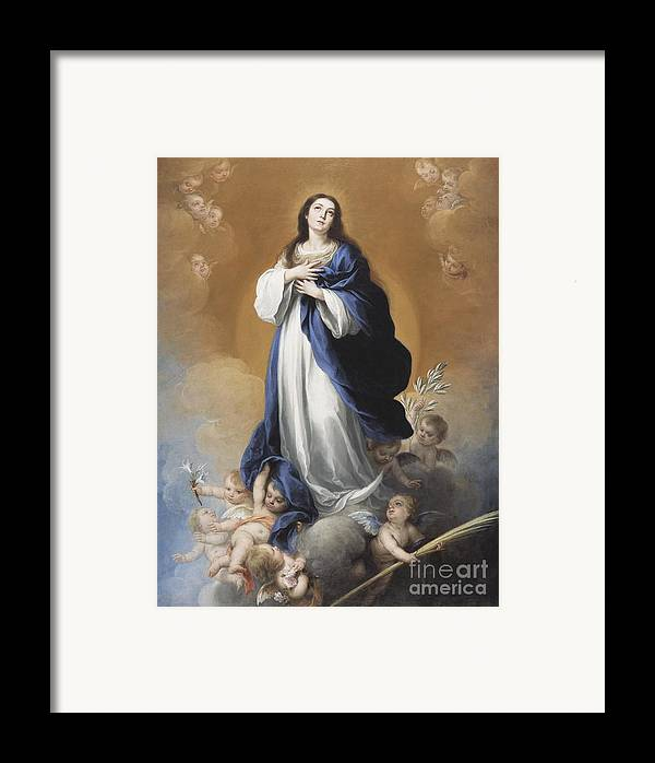 The Framed Print featuring the painting The Immaculate Conception by Bartolome Esteban Murillo