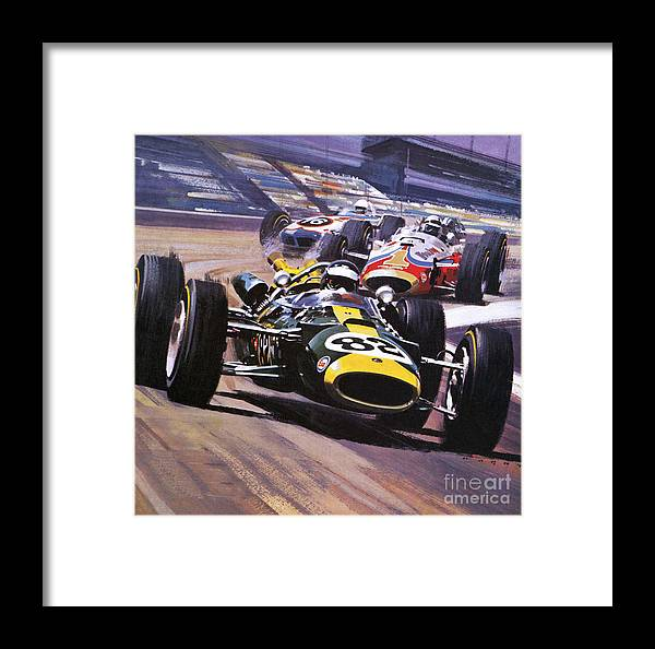 Indy 500 Framed Print featuring the painting The Indianapolis 500 by Wilf Hardy