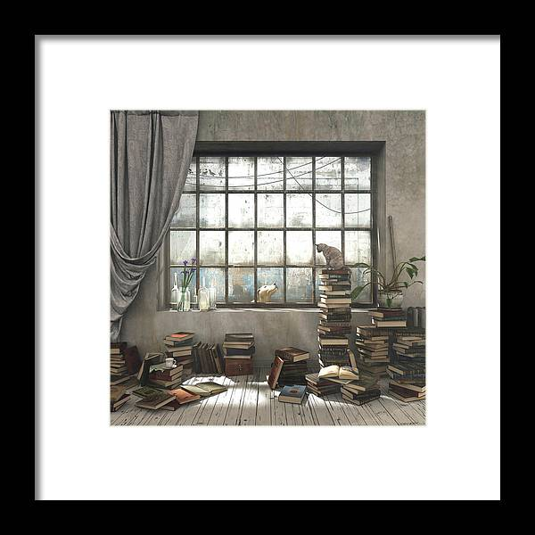 Books Framed Print featuring the digital art The Introvert by Cynthia Decker