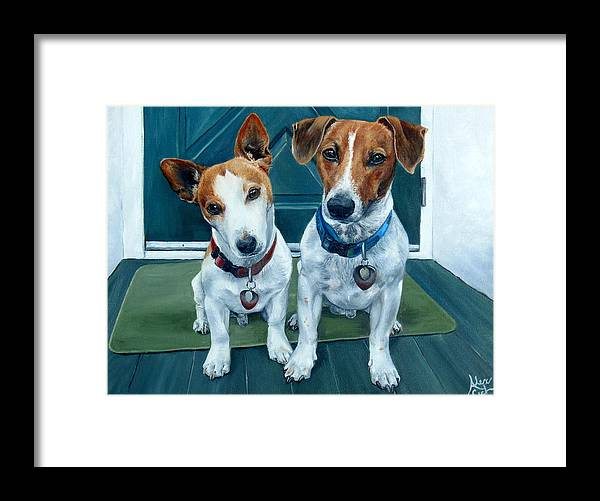 Jack Russel Framed Print featuring the painting The Jack Russel Duo by Alexandra Cech