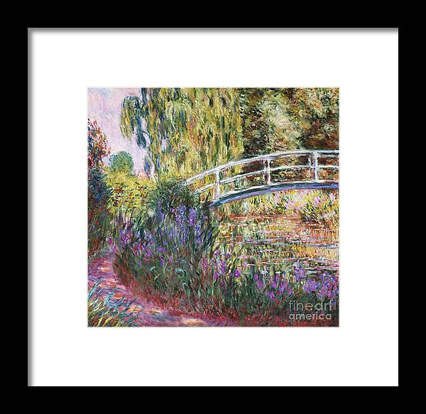 The Japanese Bridge Framed Print featuring the painting The Japanese Bridge by Claude Monet