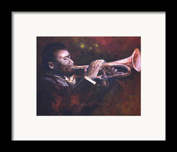 Trumpet Framed Print featuring the painting The Jazz Player by Jun Jamosmos