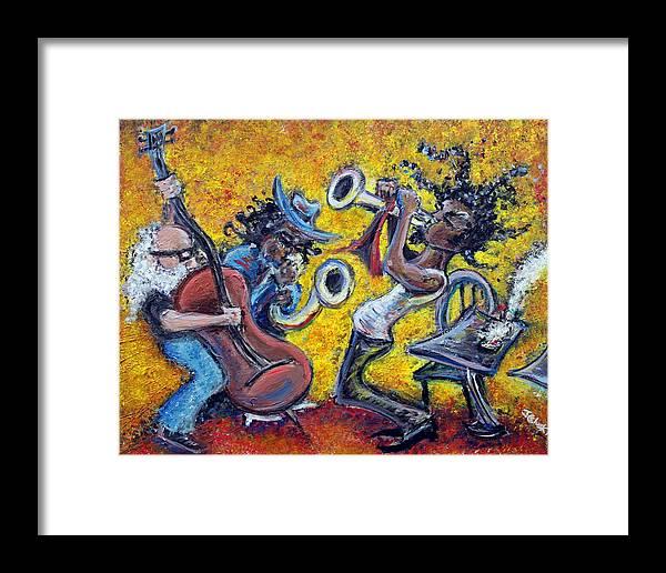 Jazz Music Art Black Musician Framed Print featuring the painting The Jazz Trio by Jason Gluskin