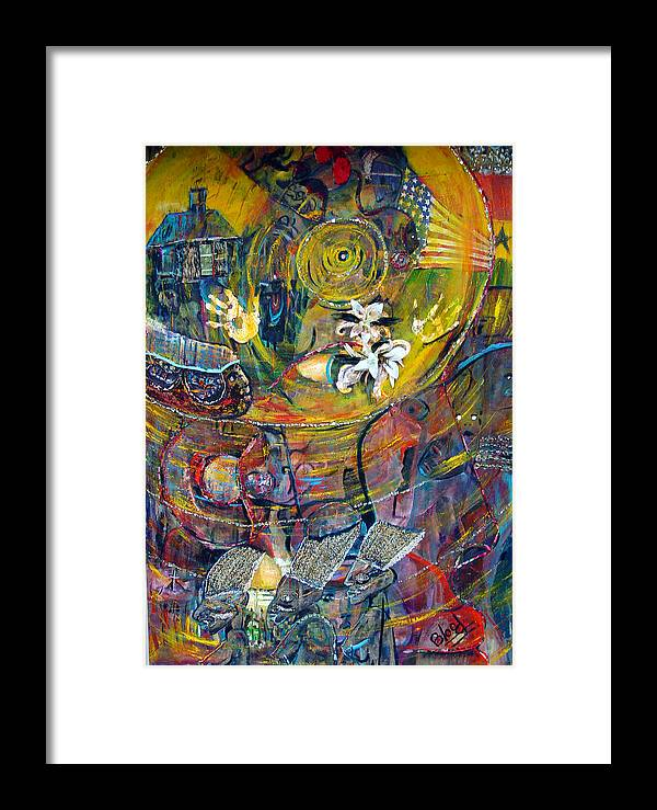 Figures Framed Print featuring the painting The Journey by Peggy Blood