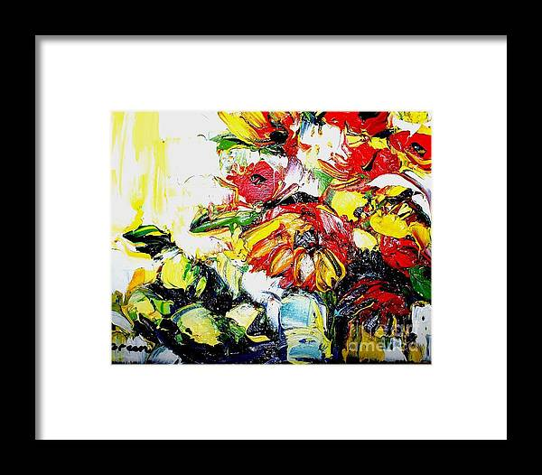 Artwork Framed Print featuring the painting The Joyful Garden by Maya Green