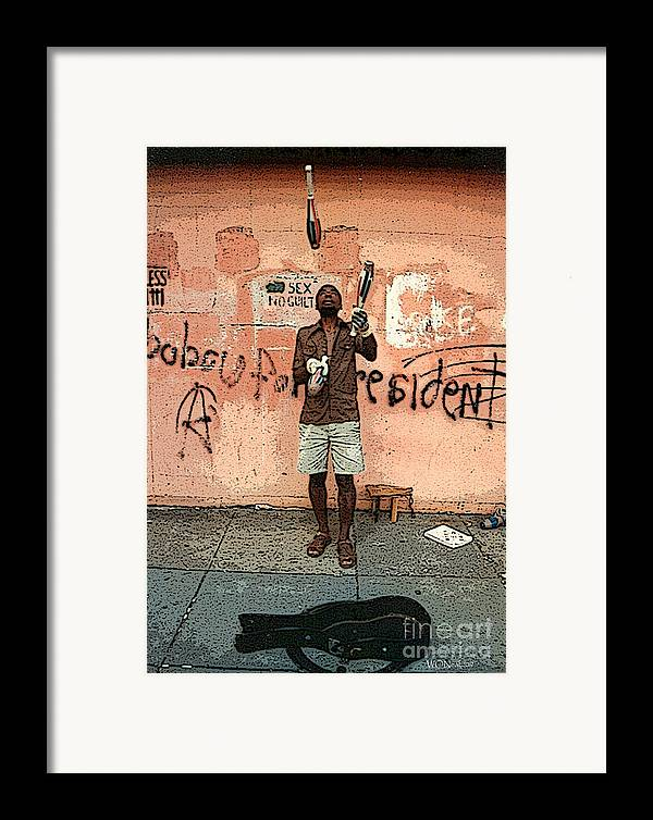 Male Portraits Framed Print featuring the photograph The Juggler by Walter Oliver Neal