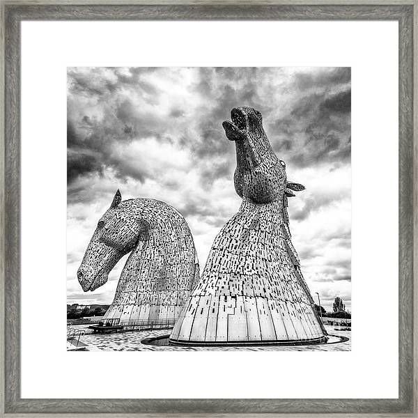 The kelpies framed print featuring the photograph the kelpies at falkirk by janet burdon