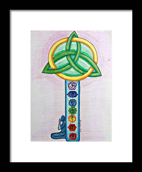 Chakras Framed Print featuring the drawing The Key by Suzy Marie Inman