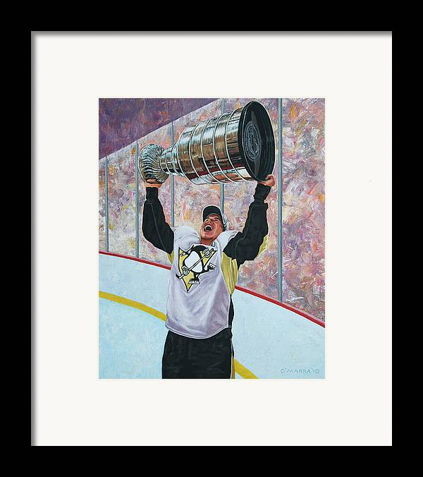 Sidney Crosby Framed Print featuring the painting The Kid And The Cup by Allan OMarra